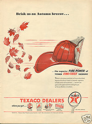 1946 Texaco Fire Chief Gasoline LARGE Print Ad Brisk as an Autumn Breeze....