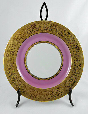 Antique Black Knight Dinner Cabinet Plate Gold Encrusted with Pink Band #2