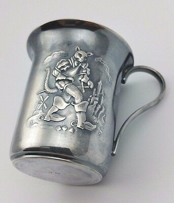 """Vintage Silver Child's cup 2-1/2 inches """"Puss in Boots"""" Design"""