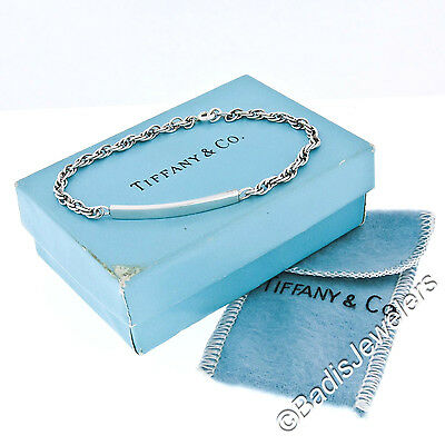 Vintage Tiffany & Co. Sterling Silver Cable Link Chain ID Bracelet w Box & Pouch