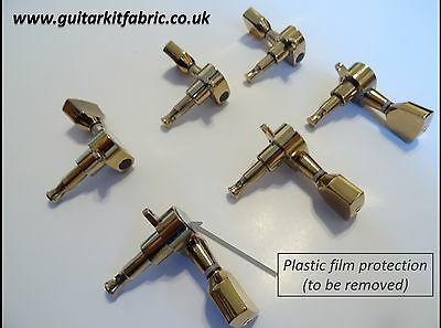 Guitar Tuning Pegs - Full set (6), Gold (with dimension schemes)