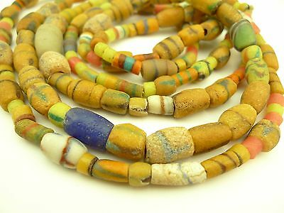 2 strands mixed handmade layered African powder glass trade beads tribal AB-0027