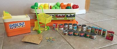 Vintage 1970's Barbie Grocery Store Supermarket Playset Food Cart Checkout