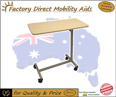 Hospital Overbed Table Non Tilting wooden top New Adjustable in Height on Wheels