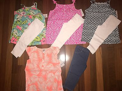 NWT Girls 4t CARTER'S 8 Piece Spring Summer Lot 4 Capri Sets PRETTY Outfits ~ L@