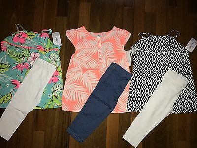 NWT Girls 3t CARTER'S 6 Piece Spring Summer Lot 3 Capri Sets PRETTY Outfits ~ L@