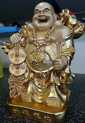 Chinese 25cm Happy Laughing Golden Buddha Lucky Rich Wealthy Feng Shui Statue