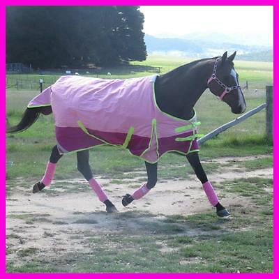 LOVE MY HORSE 600D 300g 5'0 - 6'6 Stable / Winter Std Rug Waterproof Pink Lime