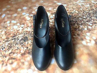 "NEW So Danca CH53 Black Character Dance Stage Shoes (3"" Heel) size 8.5 BNIB"