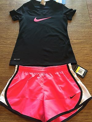 NIKE Kids Girls Youth MATCHING Outfit Set Shirt & Short Size Small S Pink NWT!