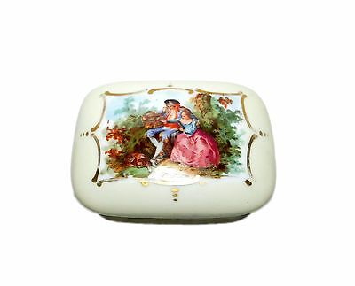 """Vintage EDWARD CAZAUX """"DAX"""" Signed Hand Painted Porcelain Box - Made in France"""