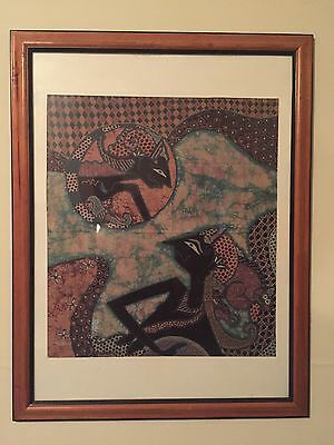 batik art framed 5 piece collection by two different artists