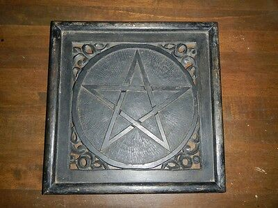 Solid Wood Handmade Pentagram Witch Wicca Pagan Occult Wall Mount Decor
