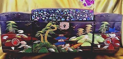 Vintage Japanese Laquered Musical Jewelry Box, Hand painted with Luminous MOP