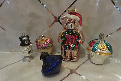 Set of 5 Vintage Glass Christmas Ornaments Cobalt, Cat in Teacup, Bear, Flowers