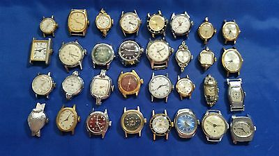 LOT OF 32 WOMEN'S MECHANICAL USED WRISTWATCHES for parts