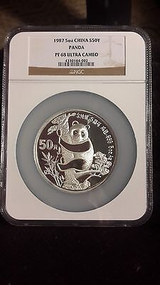 1987 5 Oz Silver 999 Panda Ngc Pf 68 China S50Y Chinese Ultra Cameo Proof