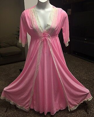 Vtg Peignor Lingerie Pink Chiffon Lace Robe Nightgown Set Medium Valentines Day
