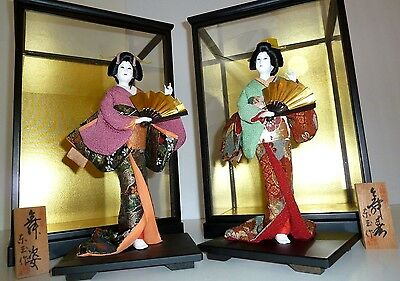 Japanese Geisha Doll in Glass Display Case Set 2 Kimono w/ Plaque HINAMATSURI
