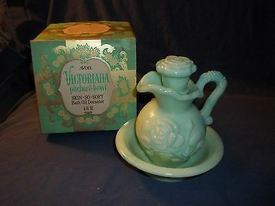 Avon Vintage Victoriana Pitcher and Bowl Skin So Soft Bath Oil Decanter