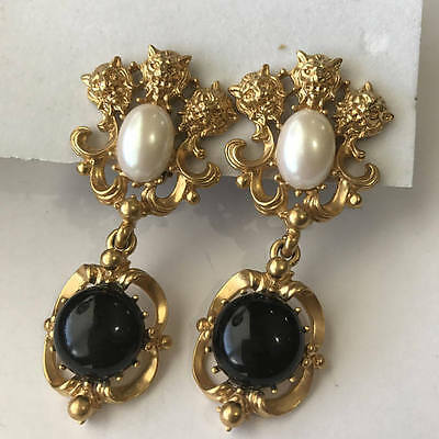 LARGE Victorian Revival Gold Plated Lion Faux Pearl Clip-on dangle Earrings