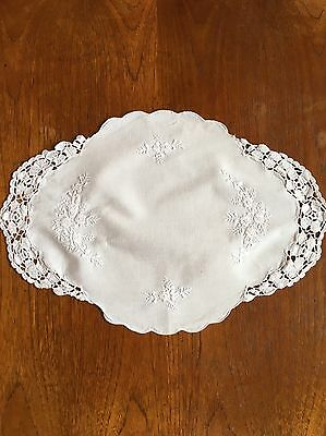 Vintage White Hand Embroidered Crochet Handmade Cotton Doily Duchess Crocheted