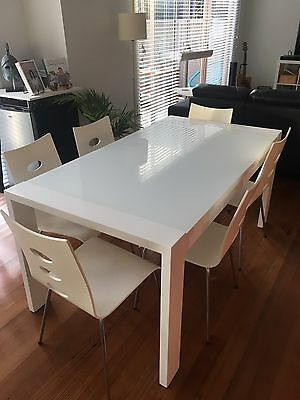 White, Glass Top Dining Table and 6 Chairs