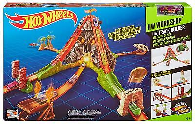 Hot Wheels Track Builder Volcano Escape Car Race Track Set  (FREE 1 10PACK CARS)
