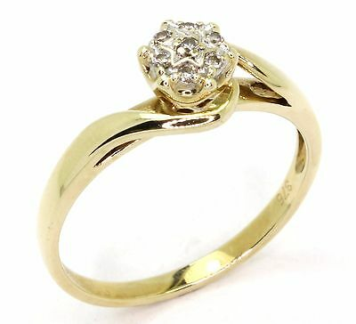 9ct Yellow Gold Seven Diamond Engagement Dress Ring - size O