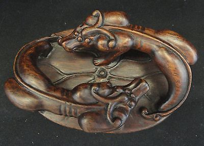 Chinese Wood Carved Twins Dragon Box
