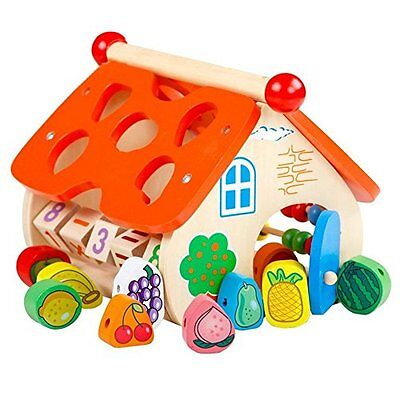 Educational Wooden Toy Set Fruit Shape Sorter Abacus Learning Arithmetic Fun Kid