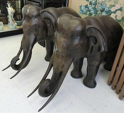 "Huge Old Pair of Chinese Bronze Elephants 38.00"" Ea Lot 89"