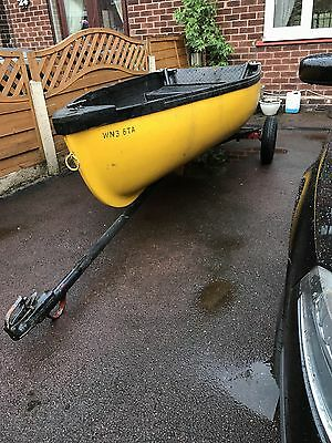Boat With Trailer Outboard Electric Motor And Battery