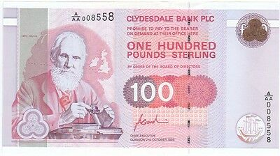Clydesdale Bank Plc -  £100 Dated 1996, Prefix A/aa, Uncirculated.