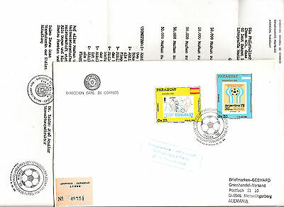 paraguay WORLD CUP FOOTBALL Registered Cover ITALY 90/FDC 1988 + LETTER
