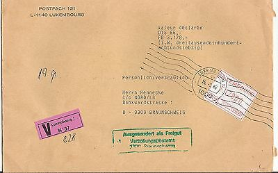Luxembourg 1988 meter stamp Valeur Declaree Cover to Braunschweig Germany