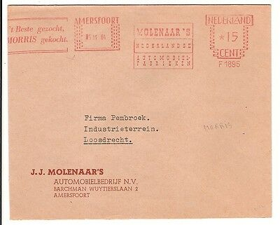 1964 MORRIS meter stamp cover  Netherlands Car auto automobile