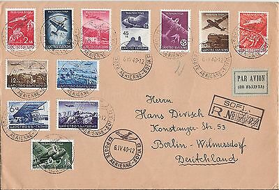 Bulgaria 1940 WW2 Registered air mail cover with set to Germany