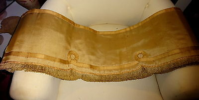 Antique French 1890s watered Silk & Applique Pelmet Bed Canopy Country House Pro