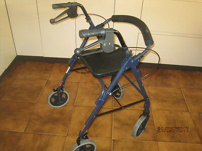 Mobility Walker 4 Wheel With Seat And Hand Brakes And Basket