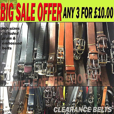 *BEST SALE OFFER* Mens Clearance Real Leather Jean Belts Handmade In England