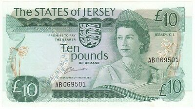 Jersey 10 Pound Signed Clennett, Prefix Ab, Uncirculated