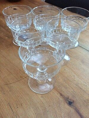6x French Glass Sundae Dishes