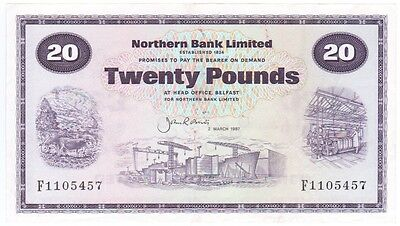 Northern Bank £20 Dated 1987, Prefix F, Condition Ef