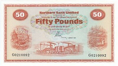 Northern Bank £50 Dated 1981, Prefix G, Uncirculated Condition