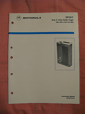 Motorola SPIRIT - Tone & Voice Radio Pager Instruction Manual 68P81014C25-D