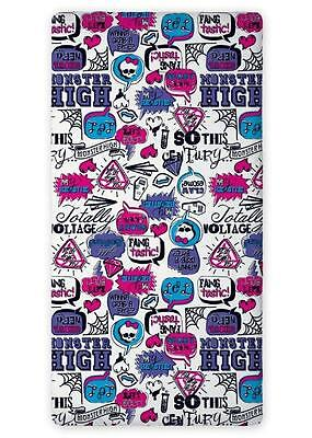 MONSTER HIGH 02 SINGLE FITTED SHEET 90cm x 200cm 100% COTTON