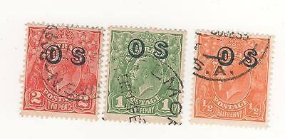 Australia 1932 KGV   Overprinted ' OS '  c of a watermark to 2d Green (3) Used