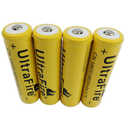 4Pcs 3.7V 18650 9800mAh Li-ion Rechargeable Battery for Flashlight Headlamp LED