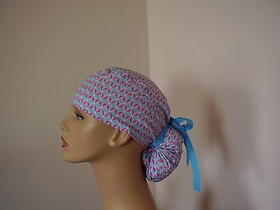Ponytail Scrub Hat- Purple Gray Turquoise- One size- Handmade